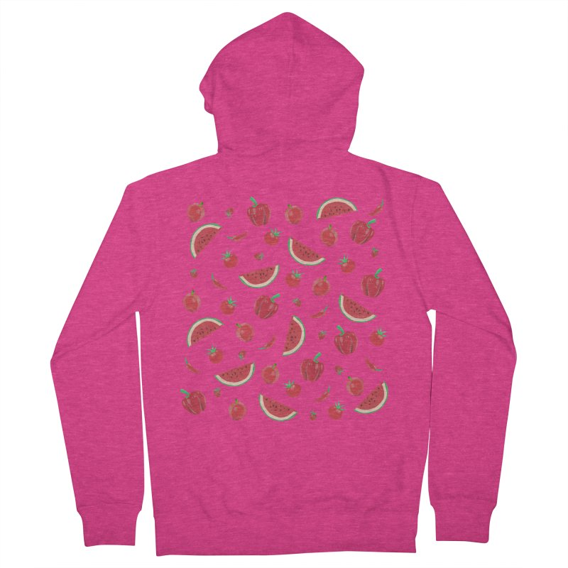 Red Fruit Women's French Terry Zip-Up Hoody by Donal Mangan's Artist Shop