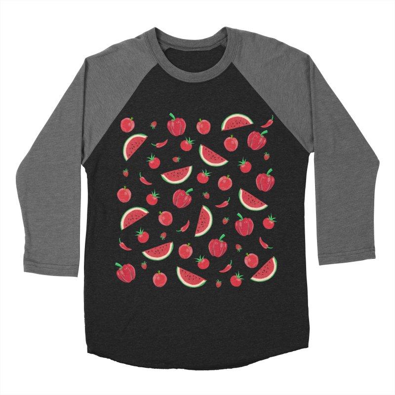 Red Fruit Men's Baseball Triblend Longsleeve T-Shirt by Donal Mangan's Artist Shop