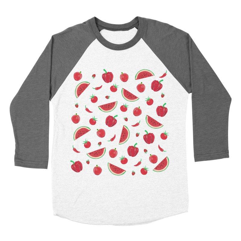 Red Fruit Men's Baseball Triblend T-Shirt by Donal Mangan's Artist Shop