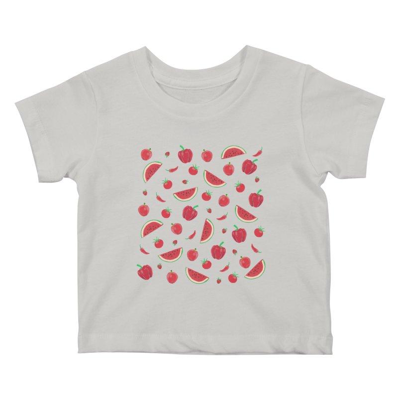 Red Fruit Kids Baby T-Shirt by Donal Mangan's Artist Shop