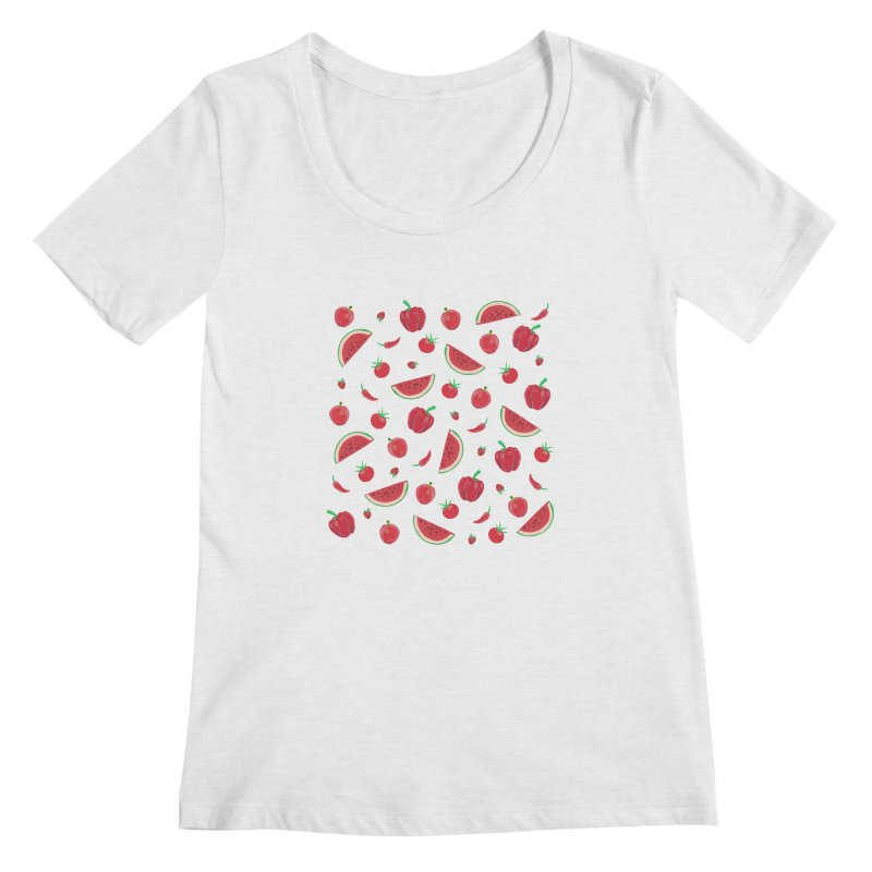 Red Fruit Women's Regular Scoop Neck by Donal Mangan's Artist Shop