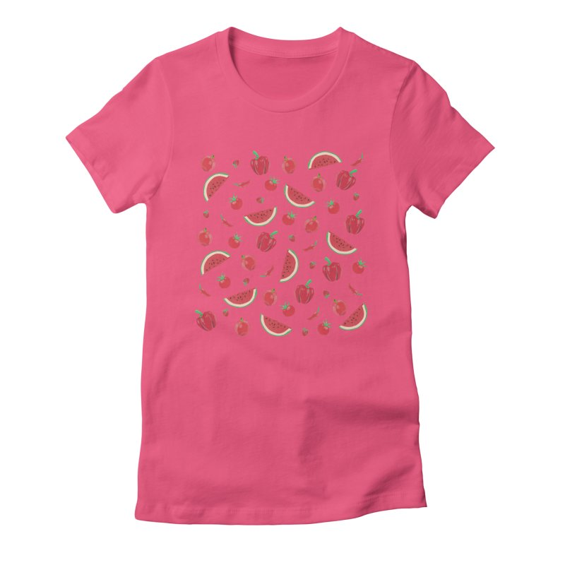 Red Fruit Women's Fitted T-Shirt by Donal Mangan's Artist Shop
