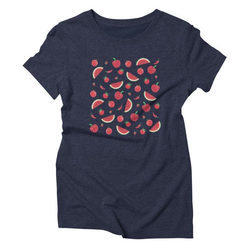Red Fruit Women's Triblend T-shirt by Donal Mangan's Artist Shop