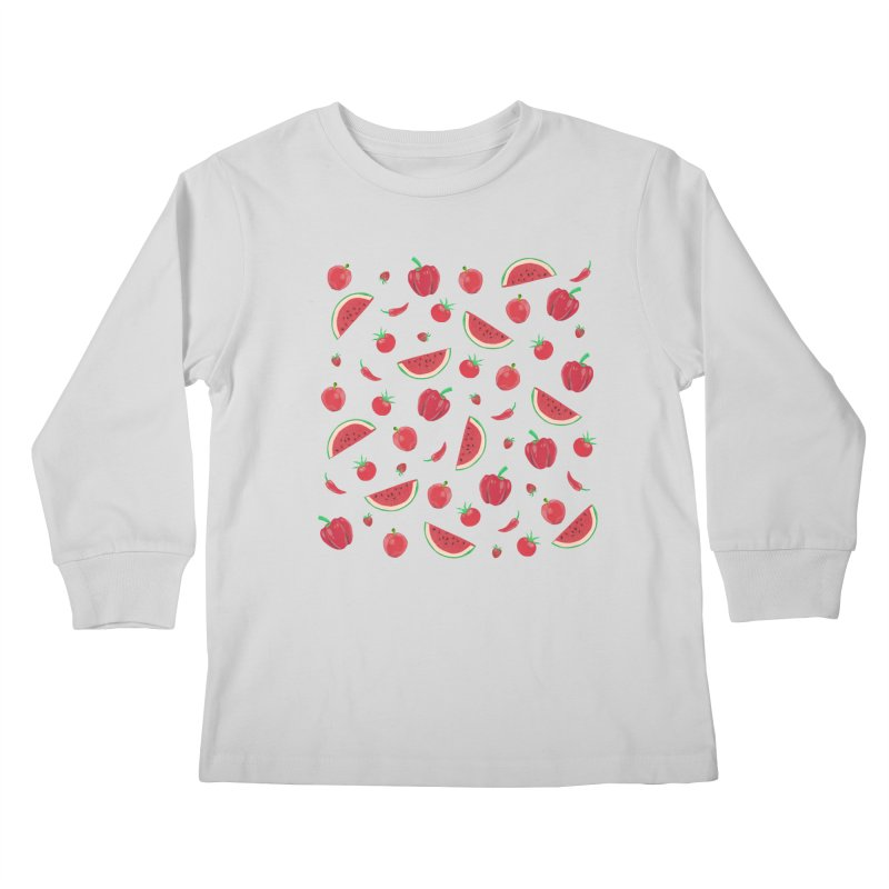Red Fruit Kids Longsleeve T-Shirt by Donal Mangan's Artist Shop