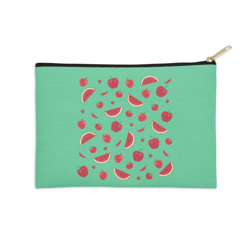 Red Fruit Accessories Zip Pouch by Donal Mangan's Artist Shop