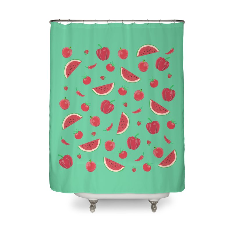 Red Fruit Home Shower Curtain by Donal Mangan's Artist Shop
