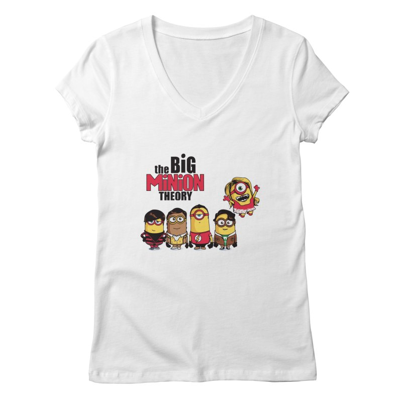 The Big Minion Theory Women's V-Neck by Donnie's Artist Shop