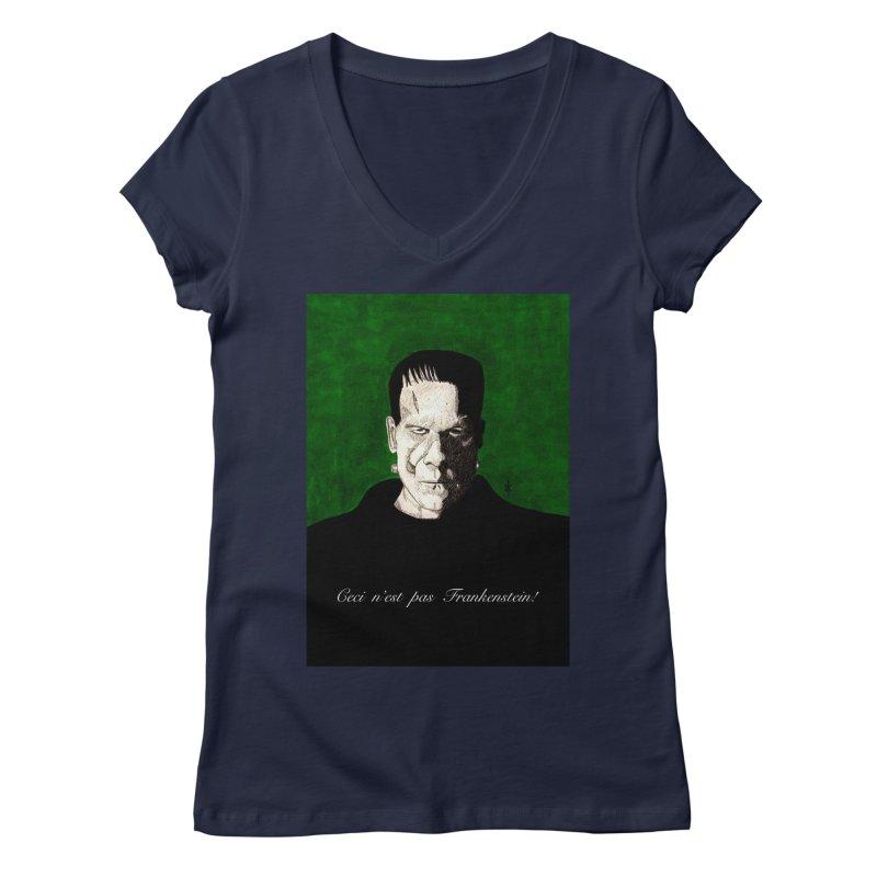 This is not Frankenstein Women's V-Neck by donnovanknight's Artist Shop