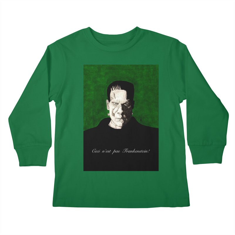 This is not Frankenstein Kids Longsleeve T-Shirt by donnovanknight's Artist Shop