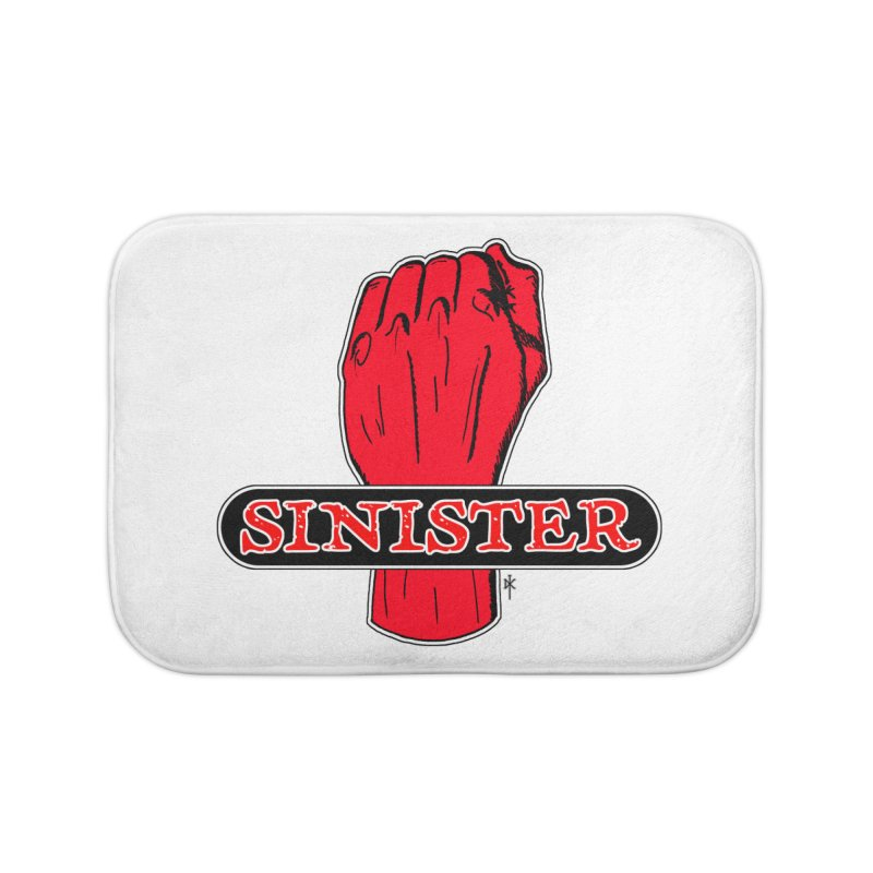 Are you Sinister? Left Handers Day Home Bath Mat by donnovanknight's Artist Shop