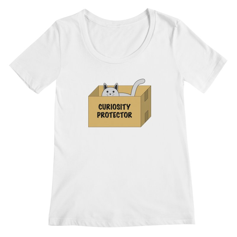 """Cat """"Curiosity Protector"""" A.K.A. """"BOX"""" Women's Scoopneck by donnovanknight's Artist Shop"""