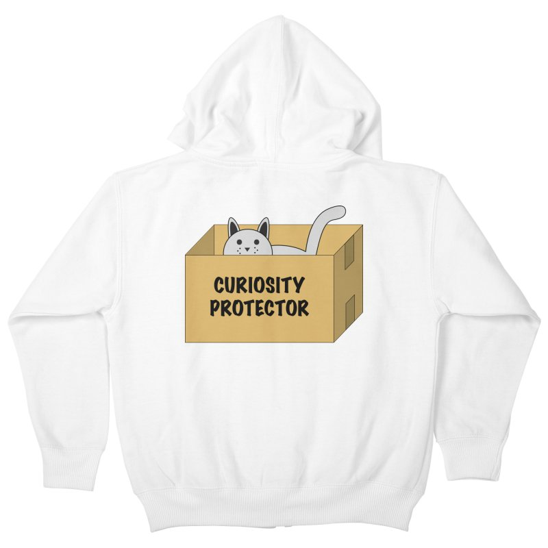 """Cat """"Curiosity Protector"""" A.K.A. """"BOX"""" Kids Zip-Up Hoody by donnovanknight's Artist Shop"""