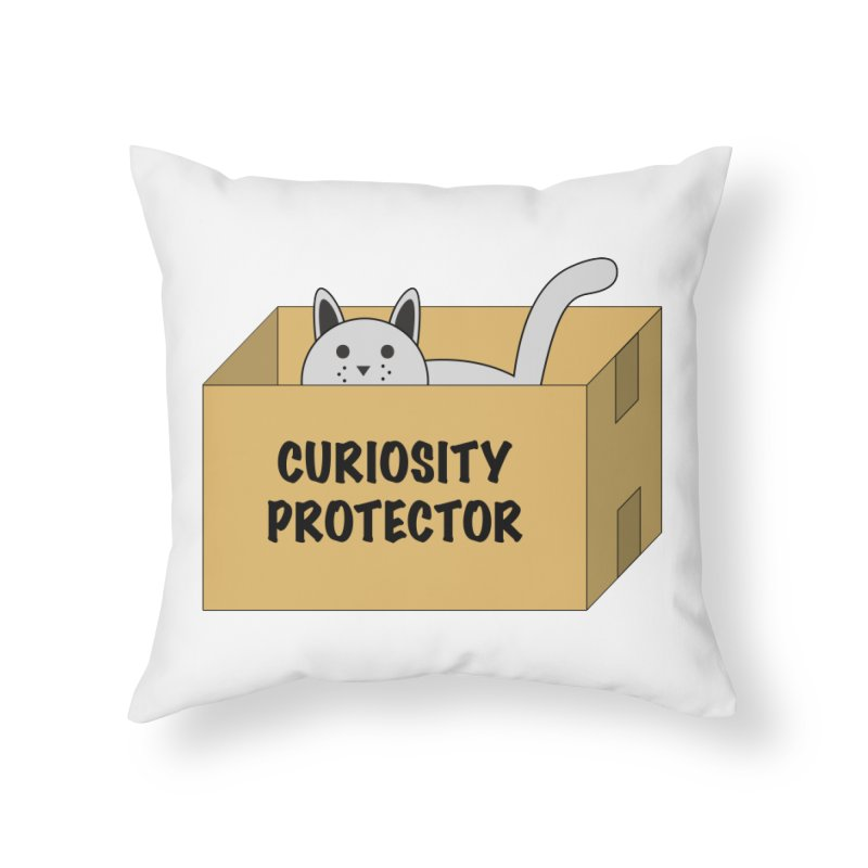 """Cat """"Curiosity Protector"""" A.K.A. """"BOX"""" Home Throw Pillow by donnovanknight's Artist Shop"""