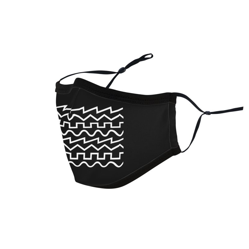 Synth Waves (White) Accessories Face Mask by DROP