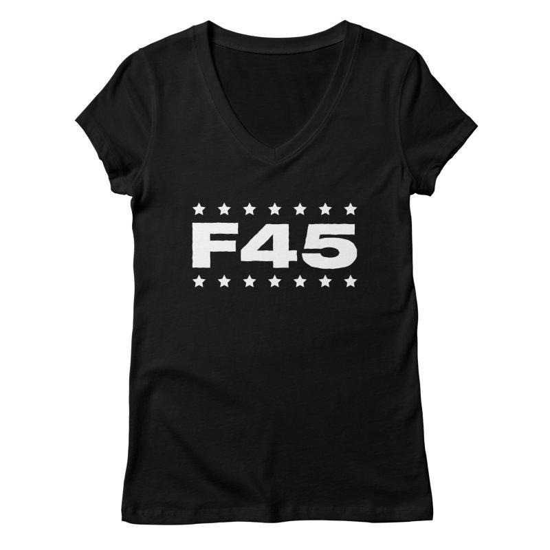 F45  (white) Women's V-Neck by Don Vagabond's Artist Shop