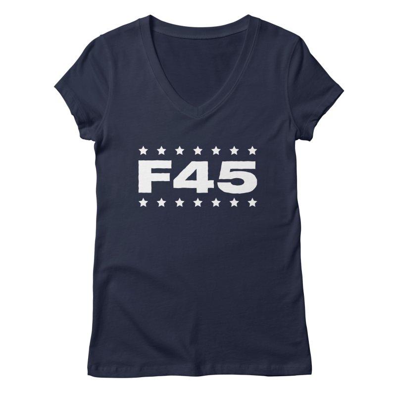 F45  (white) Women's V-Neck by donvagabond's Artist Shop