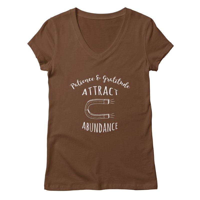 Patience & Gratitude Attract Abundance Women's V-Neck by donvagabond's Artist Shop
