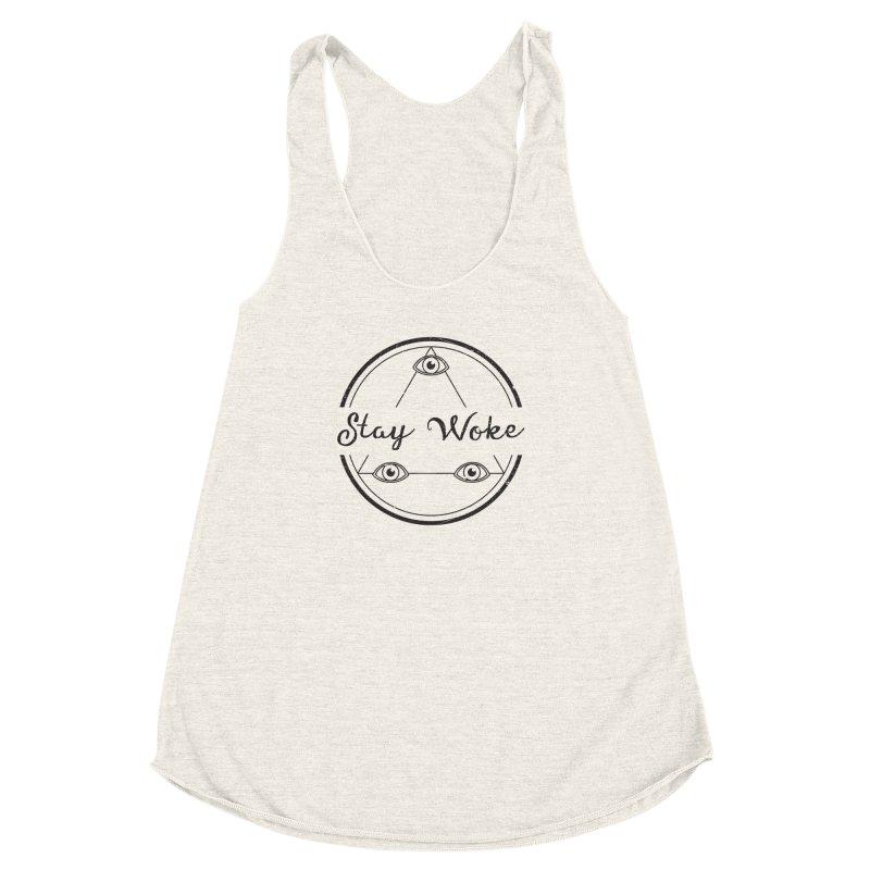 Stay Woke Women's Racerback Triblend Tank by donvagabond's Artist Shop
