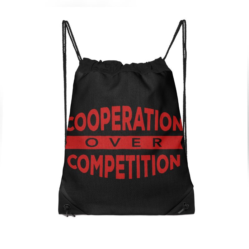 Cooperation Over Competition Accessories Drawstring Bag Bag by Don Vagabond's Artist Shop