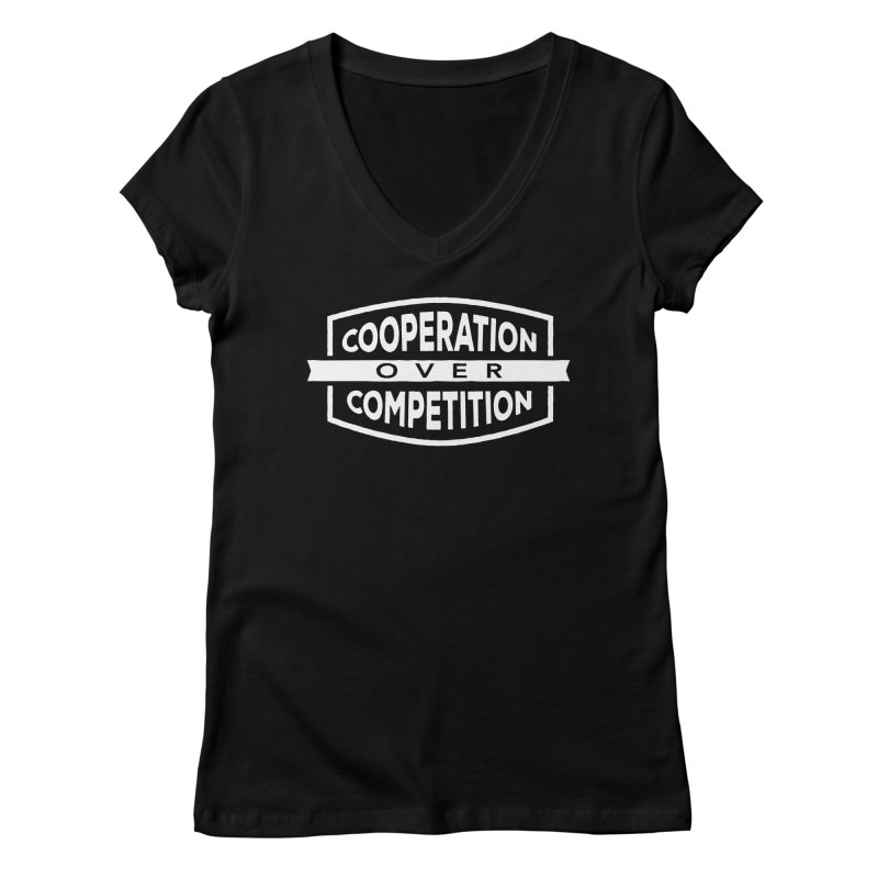 Cooperation Over Competition variant Women's Regular V-Neck by donvagabond's Artist Shop