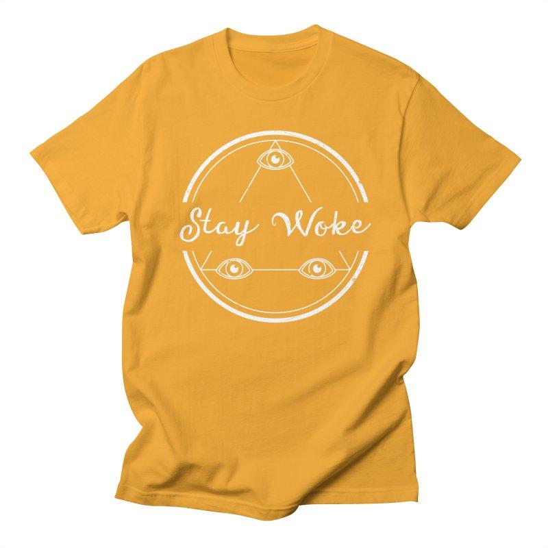 Stay Woke (white) Men's T-shirt by donvagabond's Artist Shop