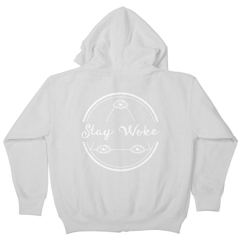 Stay Woke (white) Kids Zip-Up Hoody by donvagabond's Artist Shop