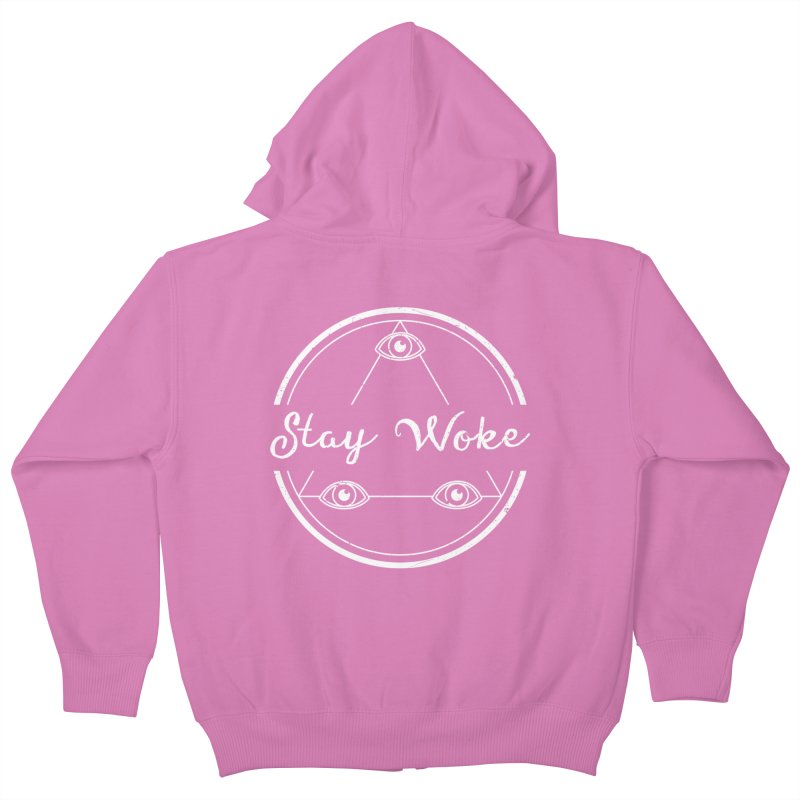 Stay Woke (white) Kids Zip-Up Hoody by donvagabond's Artist Shop