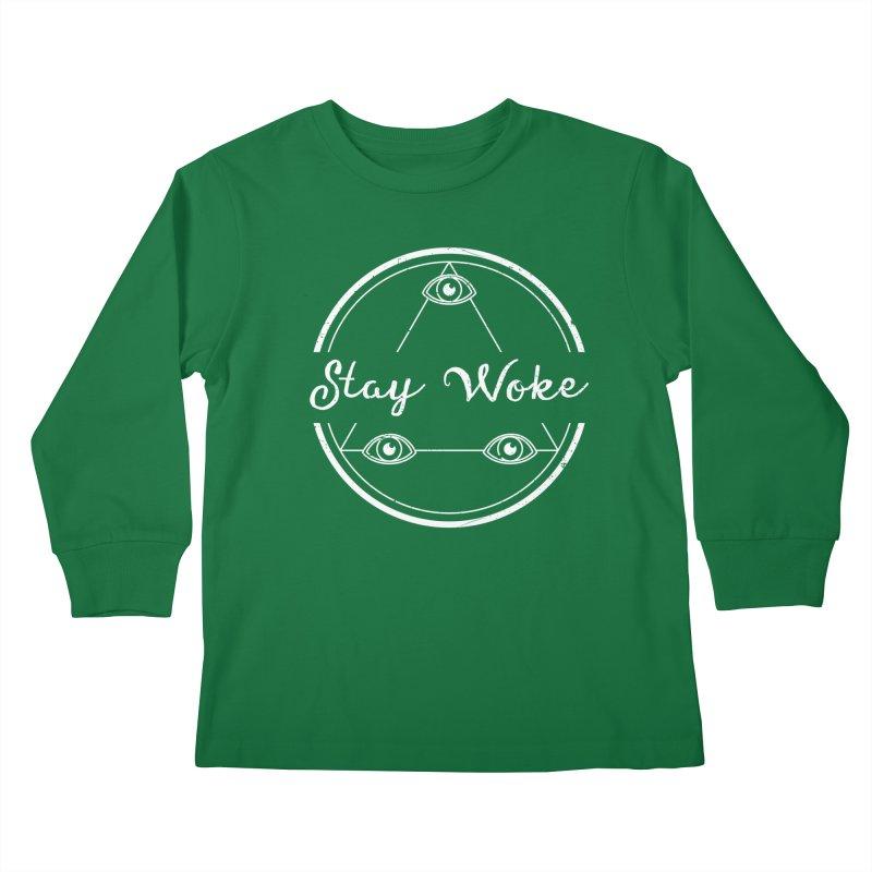 Stay Woke (white) Kids Longsleeve T-Shirt by donvagabond's Artist Shop