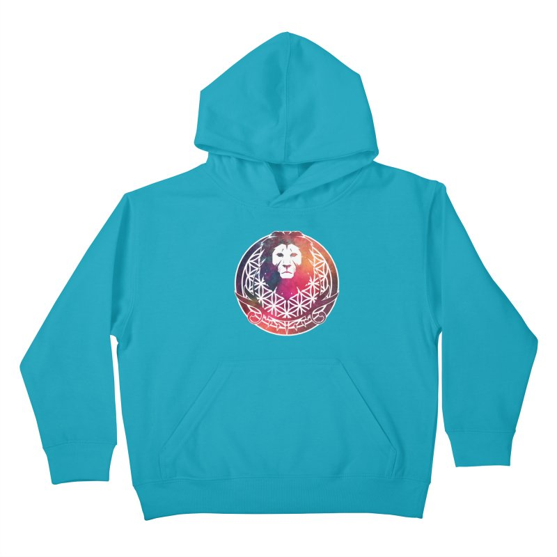Cosmic Lion Kids Pullover Hoody by donvagabond's Artist Shop