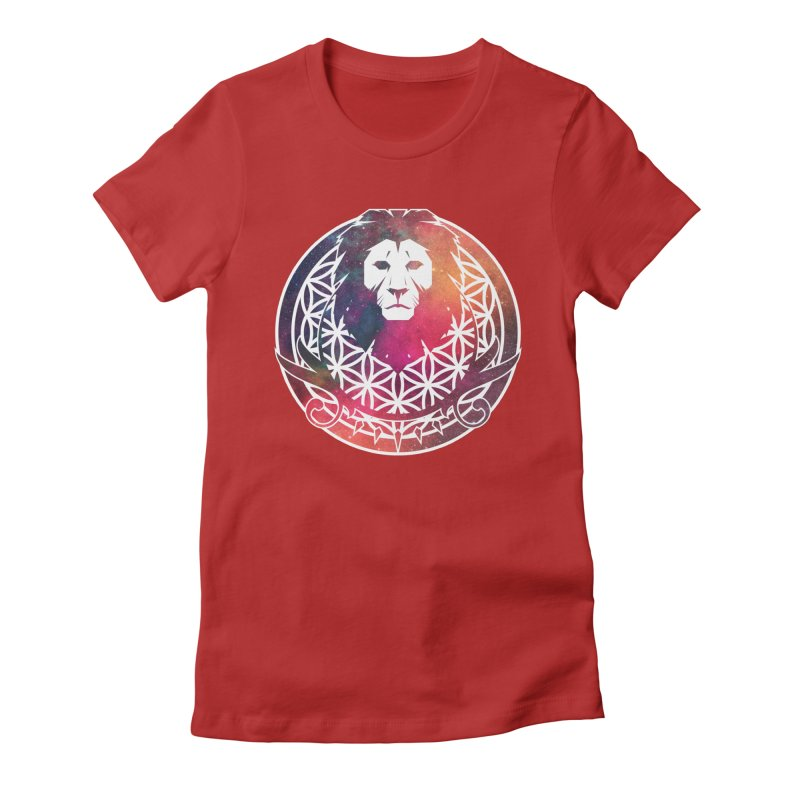 Cosmic Lion Women's Fitted T-Shirt by donvagabond's Artist Shop