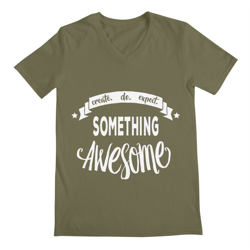 Something Awesome Men's Regular V-Neck by donvagabond's Artist Shop