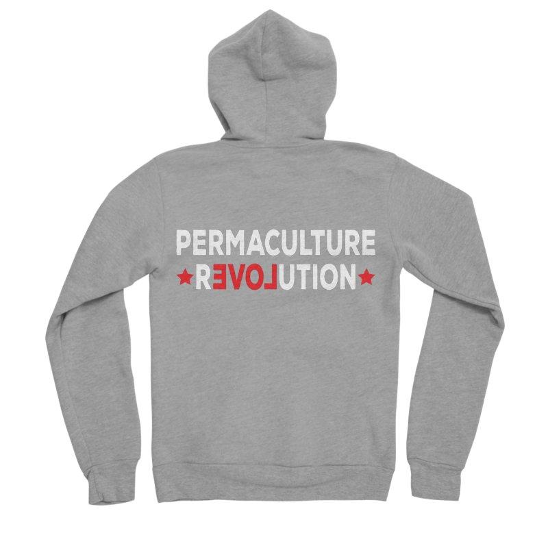 Permaculture Revolution (White) Men's Sponge Fleece Zip-Up Hoody by Don Vagabond's Artist Shop