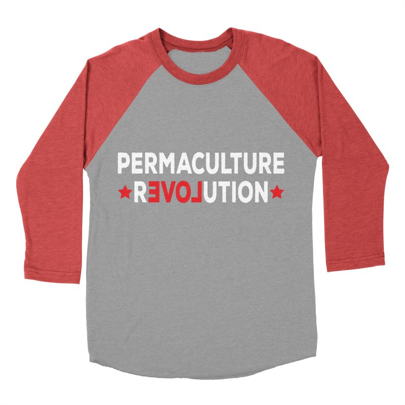 Permaculture Revolution (White) Men's Baseball Triblend Longsleeve T-Shirt by donvagabond's Artist Shop