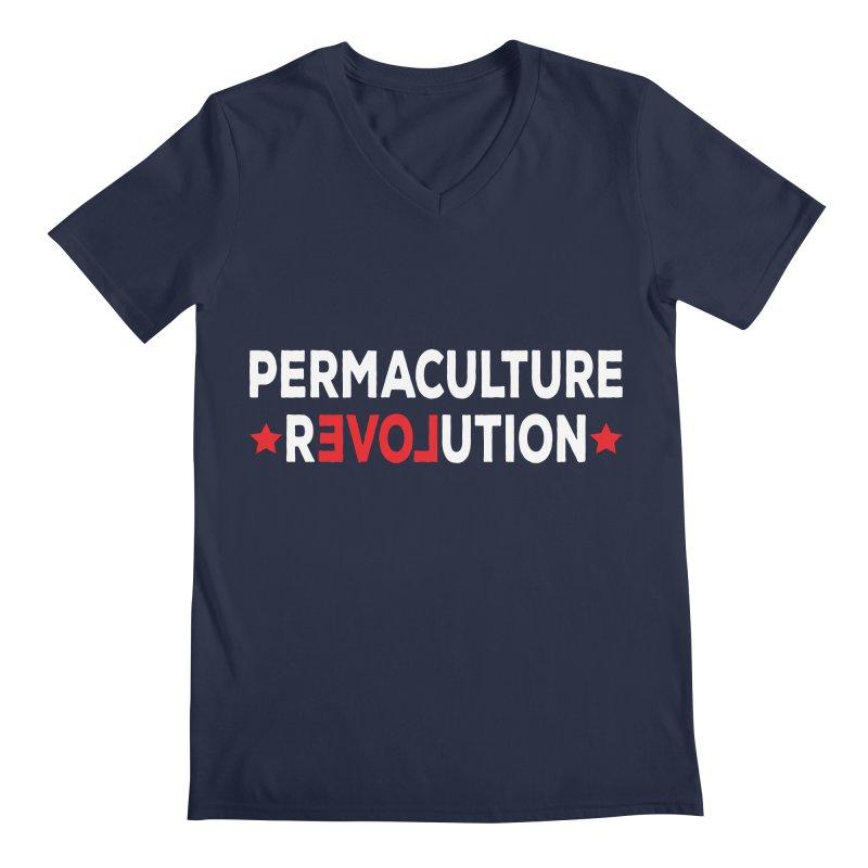 Permaculture Revolution (White) Men's Regular V-Neck by Don Vagabond's Artist Shop