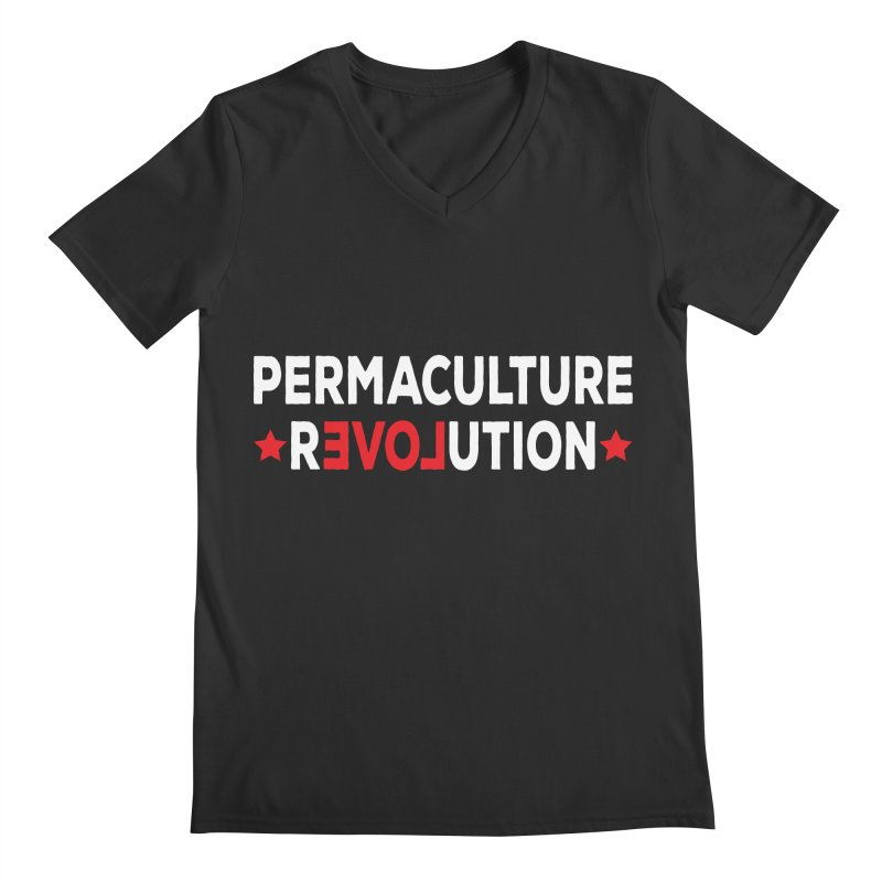 Permaculture Revolution (White) Men's Regular V-Neck by donvagabond's Artist Shop