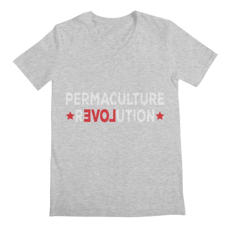 Permaculture Revolution (White) Men's Regular V-Neck by donvagabond's Artist Shop