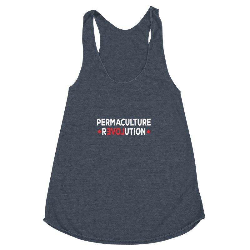 Permaculture Revolution (White) Women's Racerback Triblend Tank by donvagabond's Artist Shop