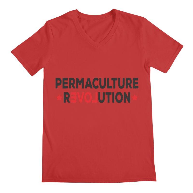 Permaculture Revolution (black) Men's Regular V-Neck by Don Vagabond's Artist Shop