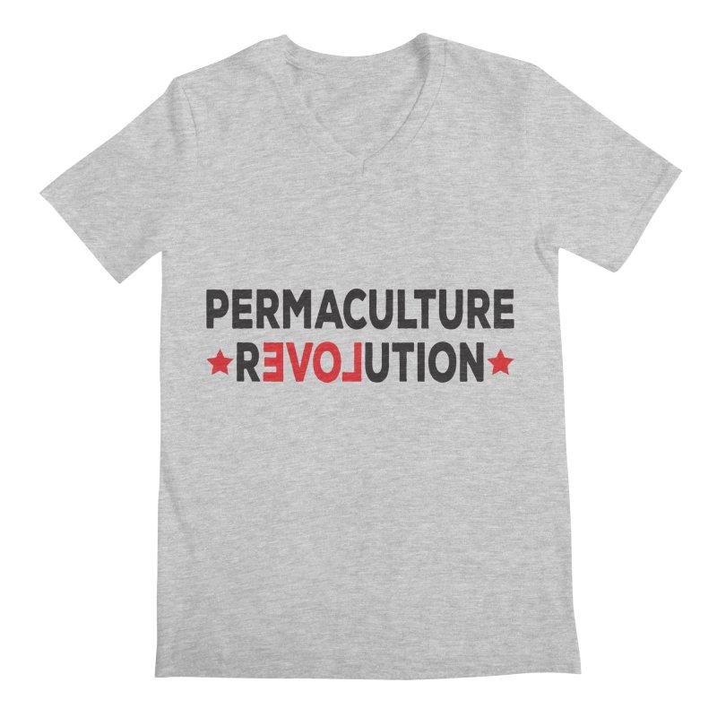 Permaculture Revolution (black) Men's Regular V-Neck by donvagabond's Artist Shop