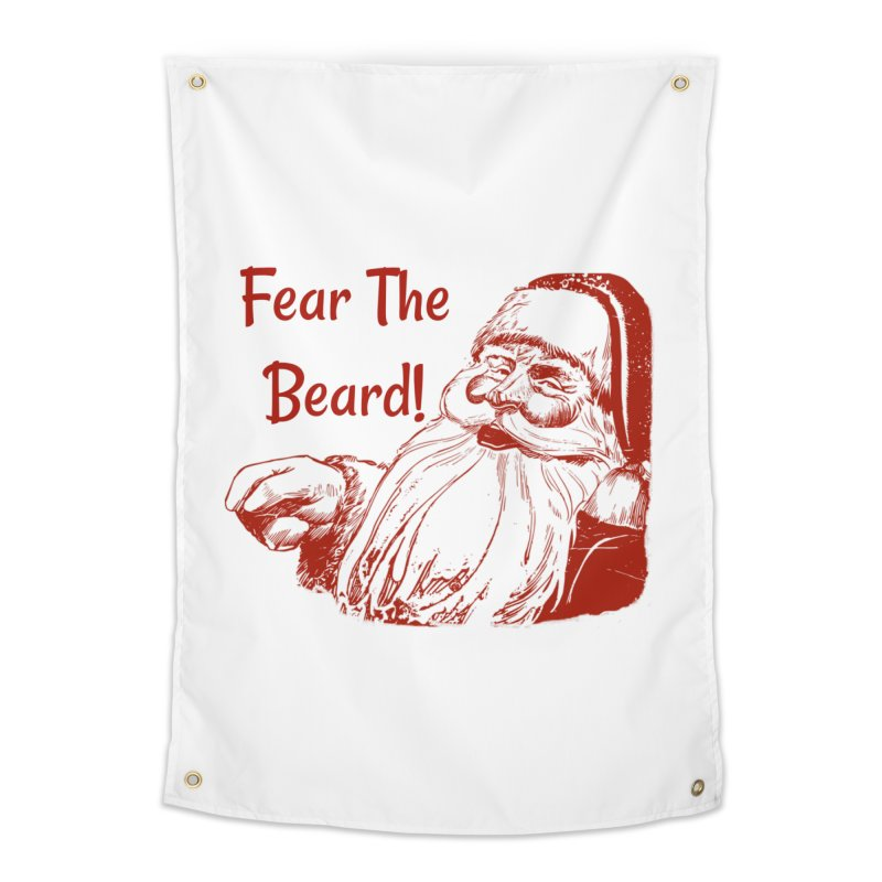 5d96cfd7440f Fear The Beard Funny Christmas Home Tapestry by Doodlebug