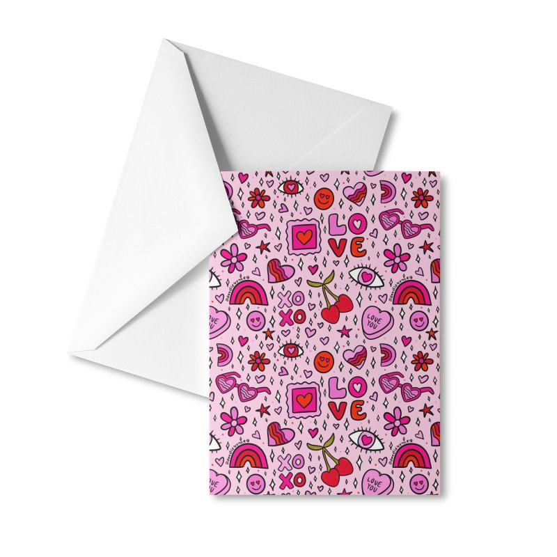 Valentines Print Accessories Greeting Card by doodlebymeg's Artist Shop
