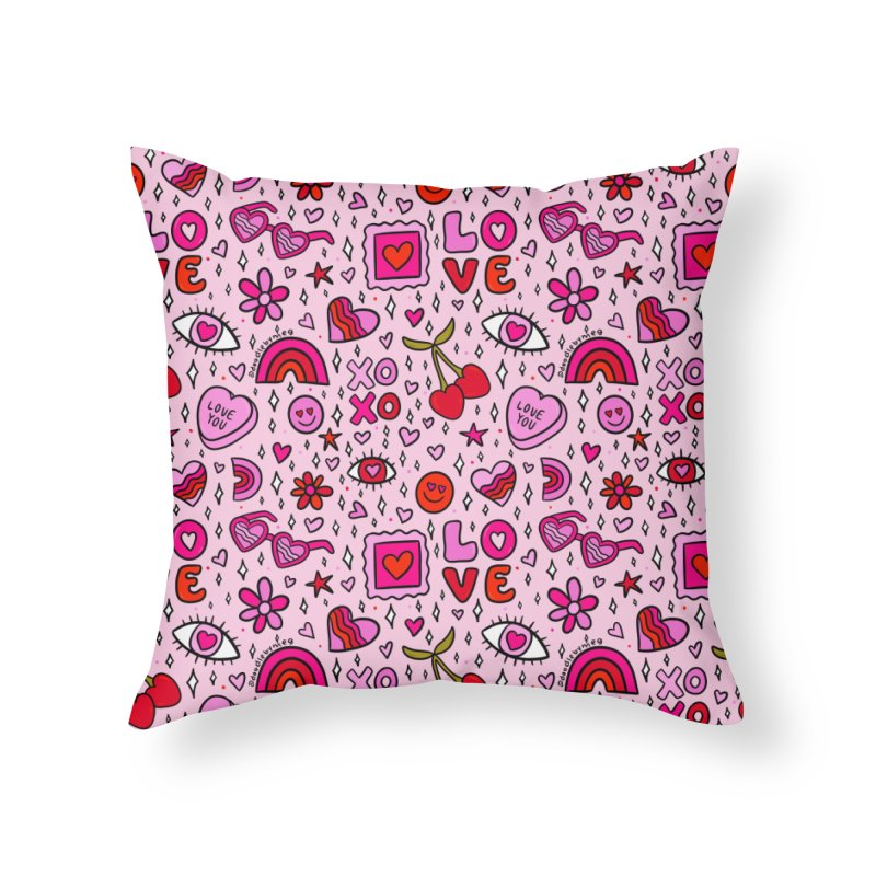 Valentines Print Home Throw Pillow by doodlebymeg's Artist Shop