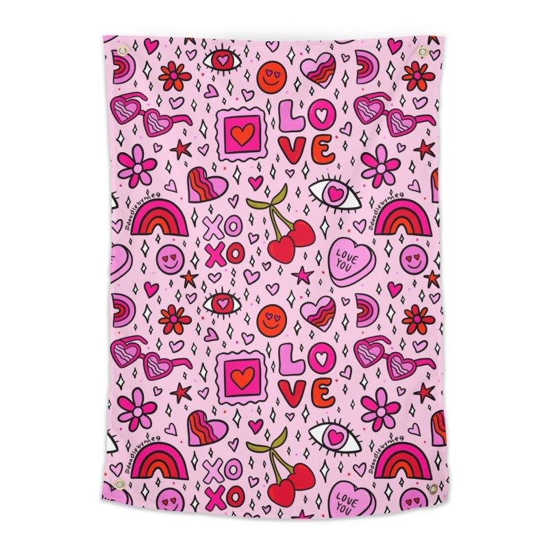 Valentines Print Home Tapestry by doodlebymeg's Artist Shop