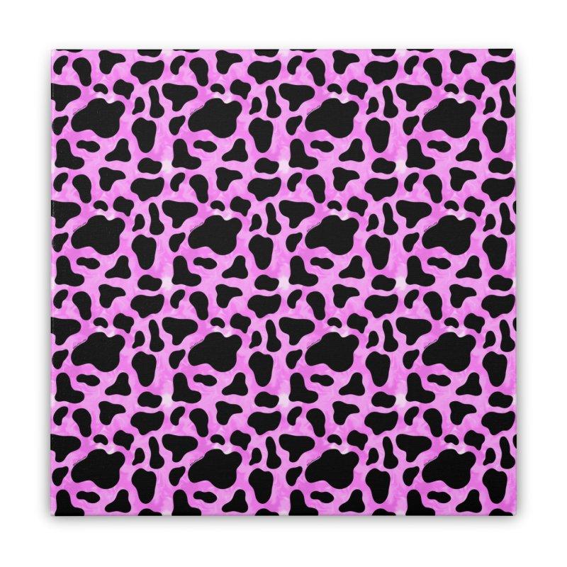 Purple Cow Print Home Stretched Canvas by doodlebymeg's Artist Shop