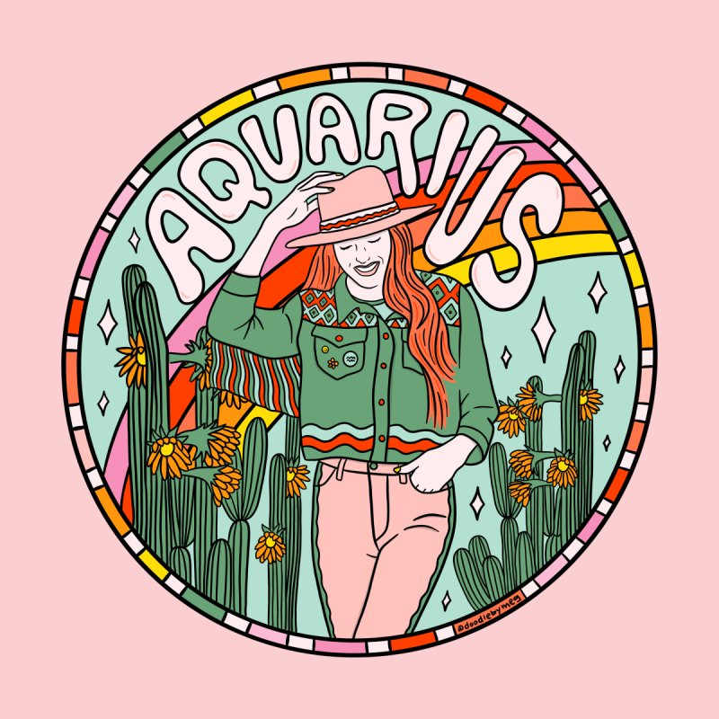Aquarius Cowgirl Home Fine Art Print by doodlebymeg's Artist Shop