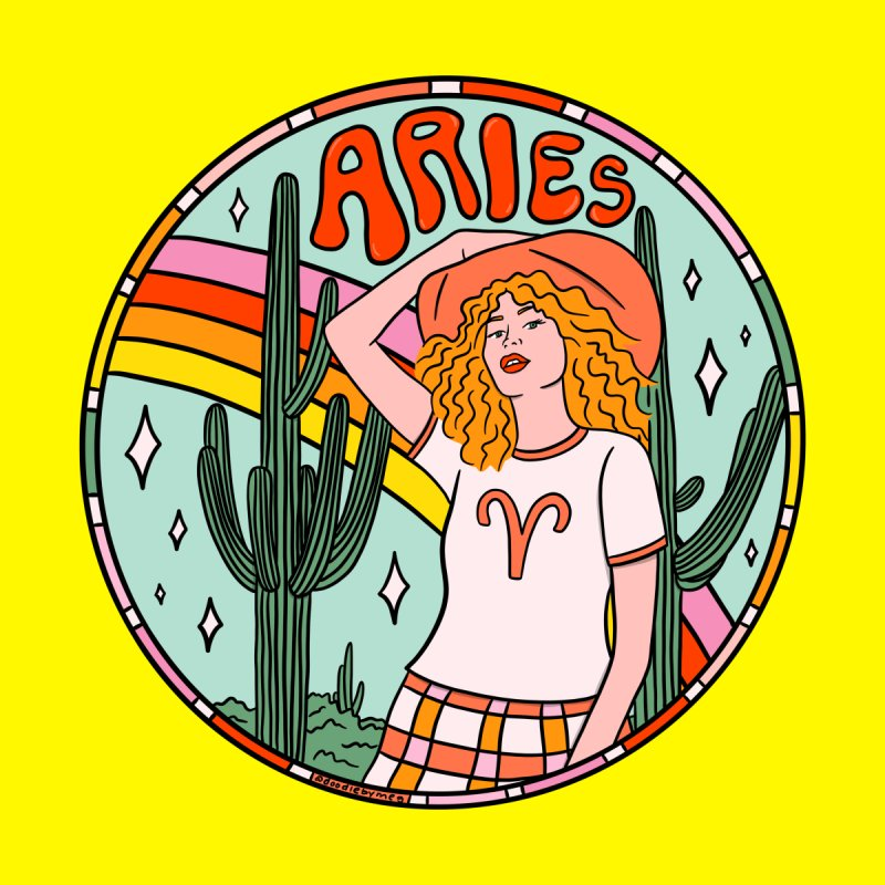 Aries Cowgirl Home Fine Art Print by doodlebymeg's Artist Shop