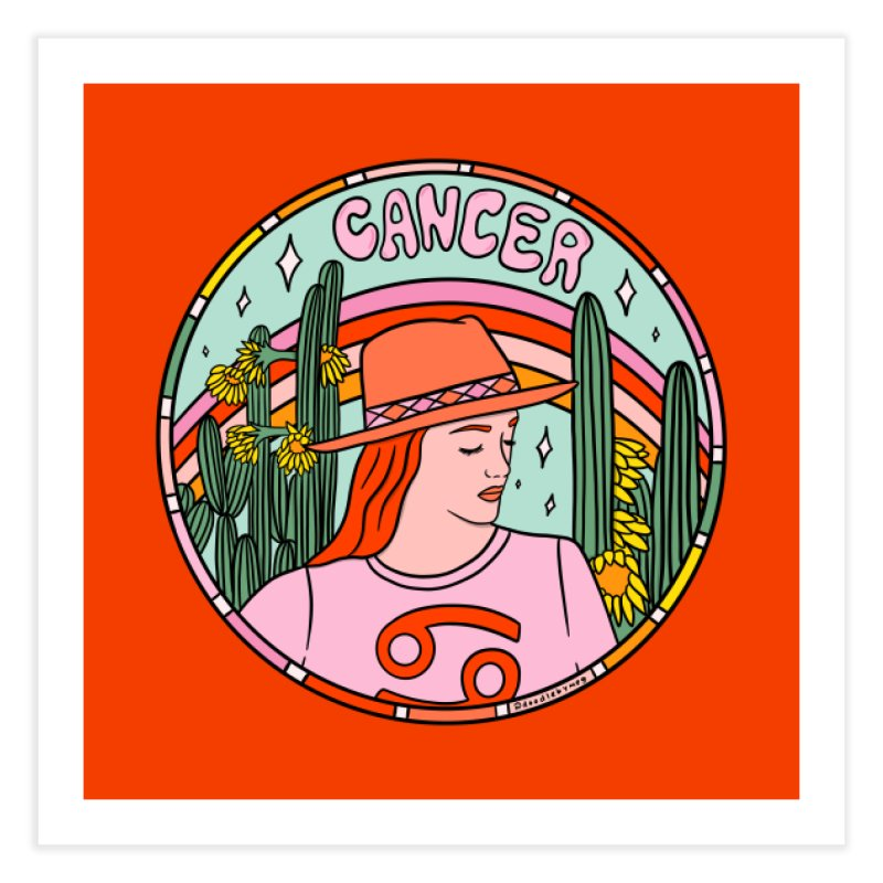 Cancer Cowgirl Home Fine Art Print by doodlebymeg's Artist Shop