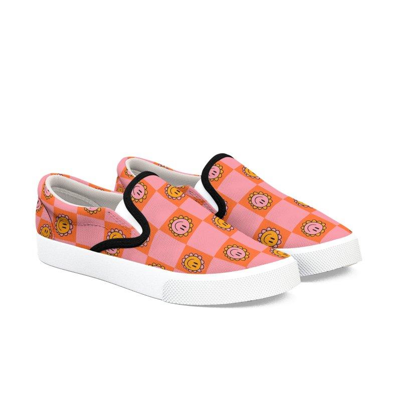 Orange Pink Checkerboard Print Men's Shoes by doodlebymeg's Artist Shop