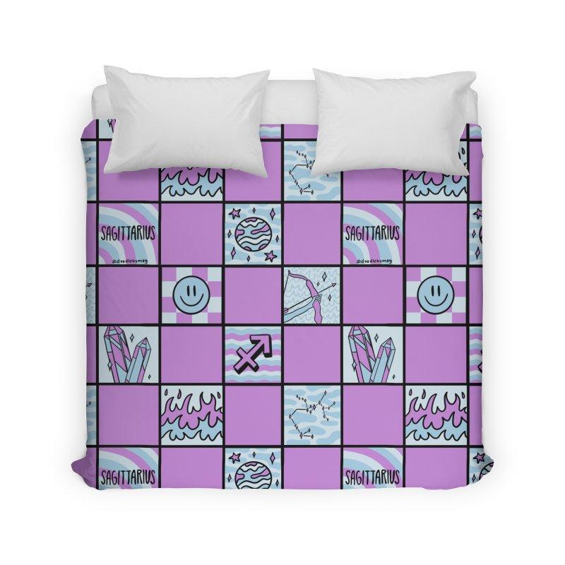 Sagittarius Checkered Print Home Duvet by doodlebymeg's Artist Shop