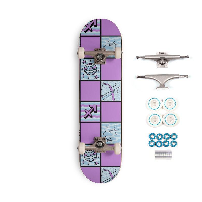 Sagittarius Checkered Print Accessories Skateboard by doodlebymeg's Artist Shop
